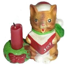 Cute Christmas Cat Caroling Figurine Candle Holder Vintage Ceramic Kawaii Santa Kitty Singing Carols Kitsch Animal Holiday Winter Decor Gift (18 CAD) found on Polyvore featuring home, home decor, holiday decorations, cat statue, ceramic cat statue, holiday figurines, santa claus figure and ceramic animal figurines