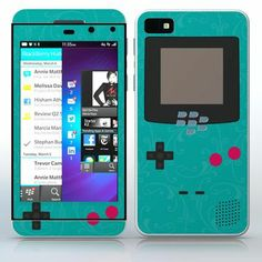 Teal Video Game Designer Device Flowered video game device pattern phone skin sticker for Cell Phones / Blackberry Z10 | $7.95