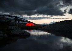 Moody skies surround this glowing Hilleberg tent. Image credit: hilleberg.se