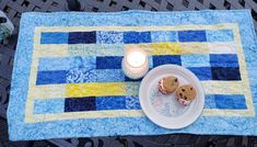Quilted Table Runners, Yellow Fabric, Table Toppers, Machine Quilting, Blues, Artists, Quilts, Projects, Handmade