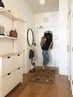 The Best Thing to Happen to Our Tiny Entry Small entryway with shoe, coat, mail, and stroller storage Small Apartment Living, Small Apartment Decorating, Small Space Living, Small Apartment Entryway, Narrow Entryway, Ikea Small Spaces, Apartment Layout, Entry Foyer, Apartment Interior