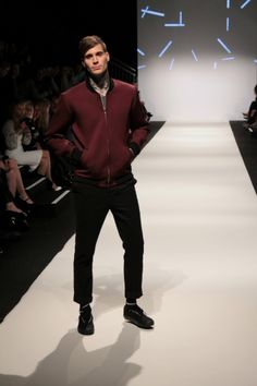 The burgundy jacket is a must-have! From the Buffet collection.  More from Vienna Fashion Week 2015: http://attireclub.org/2015/09/23/overview-vienna-fashion-week-2015/  #Vienna #FashionWeek #ViennaFashionWeek #Austria