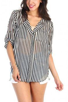 LoveMelrose.com From Harry & Molly Sheer V-Neck Stripe Top - Black / White