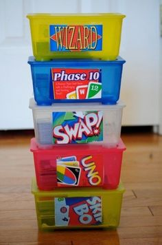 Repurpose baby wipe containers for card games. And we have tons of both card games/wipes tubs, so this is appropriate. Organisation Hacks, Classroom Organization, Storage Organization, Toy Storage, Organizing Toys, Organizing Ideas, Storage Boxes, Small Storage, Kids Storage