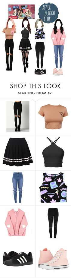 """""""☆Unnie line on ASC☆"""" by girl-gang-official ❤ liked on Polyvore featuring cutekawaii, River Island, adidas and Converse"""