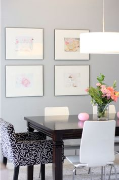 Suzie: Good Girl Gone Glad - chic dining room design with gray walls paint color, wood dining ...                                                                                                                                                                                 More