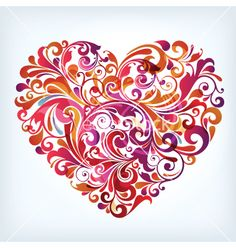 Floral heart vector on VectorStock®