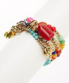 Another great find on #zulily! Gold & Pink Multi-Strand Charm Stretch Bracelet #zulilyfinds