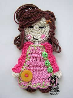 Swwt girl applique pattern is revised and ready for you :-) I made some changes, added many picture, wrote the instruction clearer. Crochet Applique Patterns Free, Crochet Motif, Crochet Designs, Crochet Flowers, Crochet Appliques, Crochet Gratis, Crochet Amigurumi, Crochet Toys, Crochet Girls