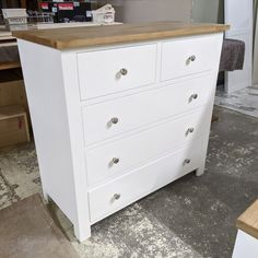 Bespoke solid pine wood chest of drawers with brushed silver knobs. Painted to match Farrow and Ball's Wimborne White. Based in St Ives, Cambridgeshire. Delivery nationwide. Pine Furniture, Bespoke Furniture, Solid Wood Furniture, Handmade Furniture, Wimborne White, Pine Chests, Wood Chest, Crafts Beautiful, St Ives