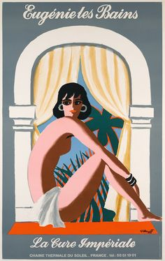 Eugenie les Bains by Villemot 1988 France - Vintage Poster Reproduction. French product poster features a nude woman sitting in front of a window with curtains and palm trees with gray walls. French Vintage, Vintage Art, Original Vintage, Cure, Exhibition Poster, Vintage Travel Posters, Poster Vintage, Cool Posters, French Artists
