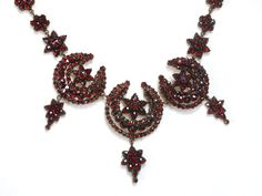 Moon & Stars Bohemian Garnet Necklace, c. 1870