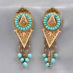 Gorgeous antique gold and turquoise earrings. Has to be Persian turquoise. Ugh.