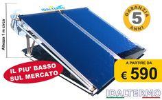 IDALTERMO Pannello solare acqua calda sanitaria. Sistema solare a circolazione naturale per la produzione di acqua calda sanitaria RIBASSATO con struttura in allumino