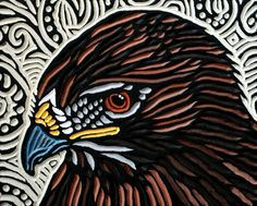 "Hawk painted woodcut block  on reclaimed Birch 9"" x 7"" Lisa Brawn 2013"