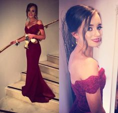 Gorgeous Off-the-shoulder Mermaid Long Burgundy Prom Dress Evening Dress