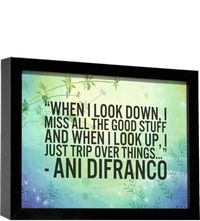 When I look around I think this this is good enough...and I try to laugh at whatever life brings and.....  Ani DiFranco. AS IS.
