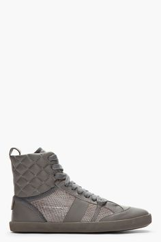 CHLOE Charcoal Leather & Python Quilted Spagna Sneakers