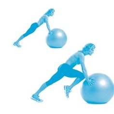 Stability ball mountain climbers:  Assume a plank position with your hands shoulder-width apart on a stability ball. Draw your right knee toward your chest. Hold for one second, then return to the plank position. Repeat with your left knee. That's one rep. Do 12 to 15 reps.