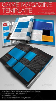 Game Magazine Template — InDesign INDD #business #pack • Available here → https://graphicriver.net/item/game-magazine-template/891181?ref=pxcr