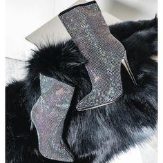 Silver Glitter Boots
