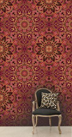 Luxury oriental mandala metallic wallpaper pattern with gold contours.