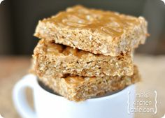 chewy browned butter oatmeal butterscotch bars with butterscotch drizzle