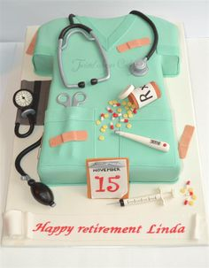 Retirement - Client sent me pictures to take inspiration from and I'm sure one was from CC member from here! So thank you to fellow CC member for a great cake idea for a nurse's retirement. All items are made of fondant. More Mais Cake Icing, Eat Cake, Cupcake Cakes, Retirement Cakes, Retirement Parties, Fancy Cakes, Cute Cakes, Gorgeous Cakes, Amazing Cakes