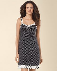 Soma Intimates Embraceable Cool Nights Sleep Chemise Mod Dot Black #somaintimates  best pj's ever!!!