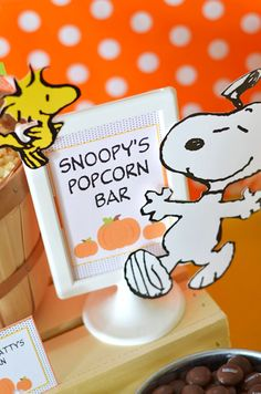 """It's the Great Pumpkin"" themed Charlie Brown Halloween Party via Kara's Party…"