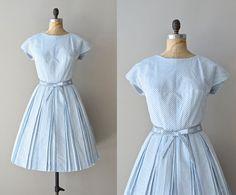 Ship to Shore dress / vintage 1950s dress / striped nautical 50s dress