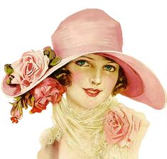 Lady in pink hat with roses