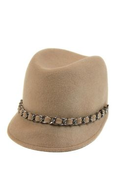 Taupe Wool & Chain Cap