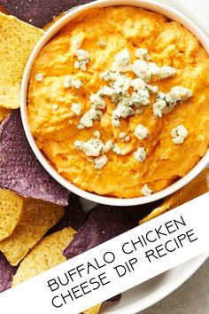 Easy Party Appetizer Chip Dip Ideas - Buffalo Chicken Cheese Dip Recipe - simple (5 ingredients) and quick (under 10 minutes!)