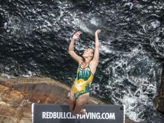 Twenty-eight metres up — Rhiannan Iffland takes the plunge. Picture: Romina Amato/Red Bull via Getty Images