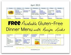 Gluten Free Dinner Menu planner with recipe links