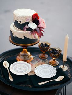 Petite gold + black wedding cake