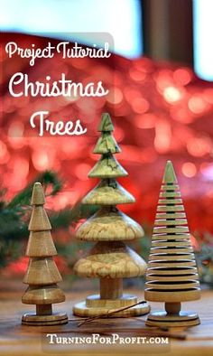Turning a small Christmas Tree on the lathe is an easy project.  You can make a table center piece, or a small tree ornament.  There are three different trees with advice on how to turn each of them.