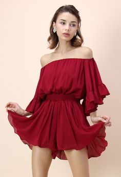 443218c0a7 Frill Like Dancing Off-shoulder Playsuit in Wine Red Romper