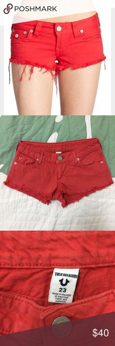 "⭐️CCO⭐️True Religion Joey Cutoff Shorts in Red Only worn once! True Religion Cutoff shorts in style ""Joey"" in a gorgeous summer red. Signature back flap pockets with distressed hem. Fits true to size. Some minimal cracking on back True Religion tag, but other than that in great condition; no rips, stains, or defects. ❤️ True Religion Shorts Jean Shorts"