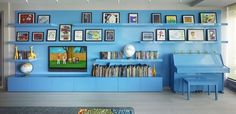 Bohemian Apartment Blue Shelving - eclectic - family room - new york - Incorporated - wonder? dining space?