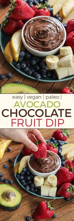 This recipe is SO simple. Just seven ingredients and 5 minutes for this vegan, paleo Avocado Chocolate Fruit Dip. Vegan and paleo!