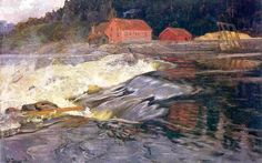 """Frits Thaulow """"Waterfalls in Norway"""""""