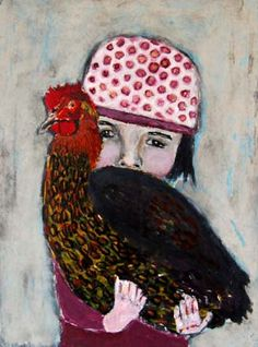 Original Acrylic Portrait 9x12 Painting Girl chicken by mizkatie, $135.00