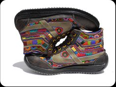 embroidered shoes by Chamulas indian women Crazy Shoes, Hiking Boots, Beautiful, Women, Style, Mexico, Craft Ideas, Indian, Contemporary