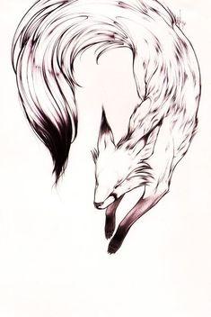 fox by ~theumbrella on deviantART. sweet fox tattoo this would make Trendy Tattoos, Tattoos For Women, Animal Drawings, Art Drawings, Fuchs Tattoo, Simple Tats, Neue Tattoos, Fox Tattoos, Deer Tattoo