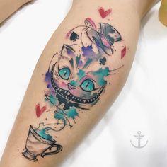 Felipe Bernardes > Alice in Wonderland to make temporary tattoo crafts ink tattoo tattoo diy tattoo stickers Neue Tattoos, Body Art Tattoos, Small Tattoos, Sleeve Tattoos, Tatoos, Tatuajes Tattoos, Tattoo Chat, Tea Tattoo, Cheshire Cat Tattoo