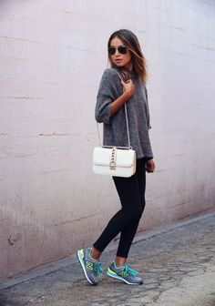 I love how easily a pair of bright, cool sneakers can elevate my look into sporty-chic (
