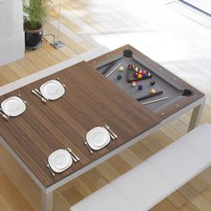It's the age-old pool table vs. dining room table conundrum: you want a pool table, but there just isn't room for one. Luckily, the chairs and table at the center of your dining room are outdated, and you're in the market for a new set. Pool Table Dining Table, Extendable Dining Table, Dinner Table, Dining Set, Table Chaise, Table Desk, Game Room Furniture, Space Saving Furniture, Furniture Design