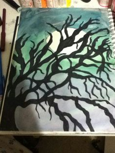 Sharpie and water color tree drawing